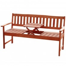 3-sitzer FSC Eukalyptus Gartenbank mit integr. Tisch