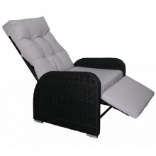 Polyrattan-Liegestuhl *BOB* schwarz Kissen: grau