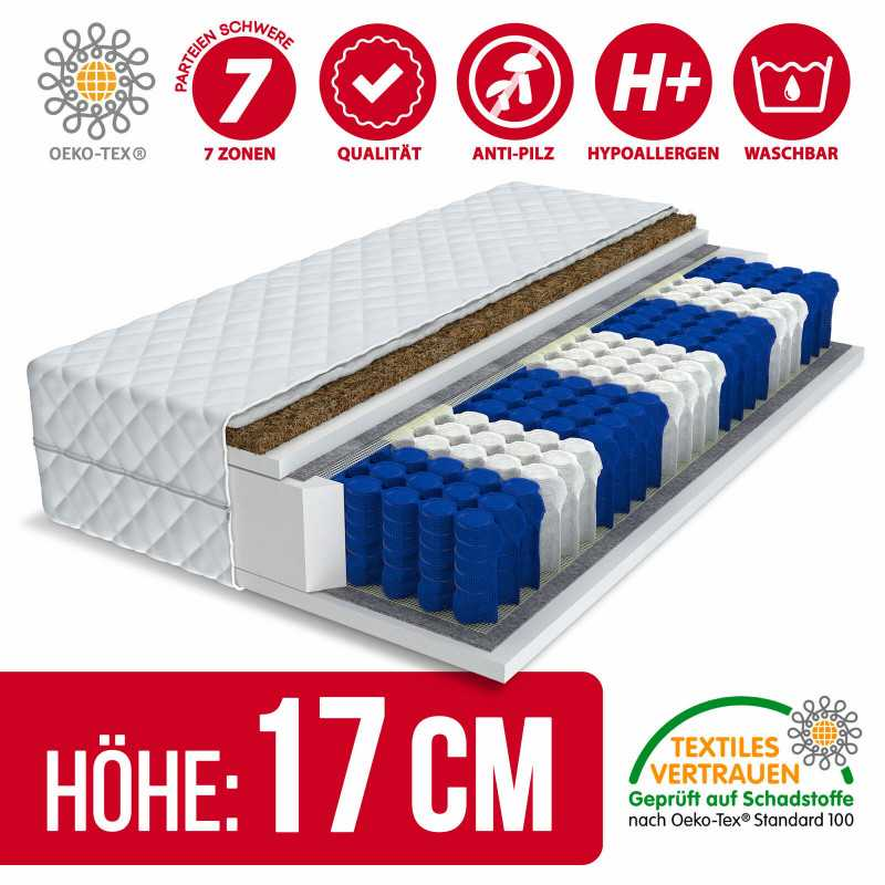 Matratze 140x200 - EUROPA KOKOS PREMIUM 9 Zonen H3/H4 - 17cm