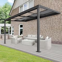 Terrassenüberdachung Deluxe 400x300x218/272cm (grau)-1