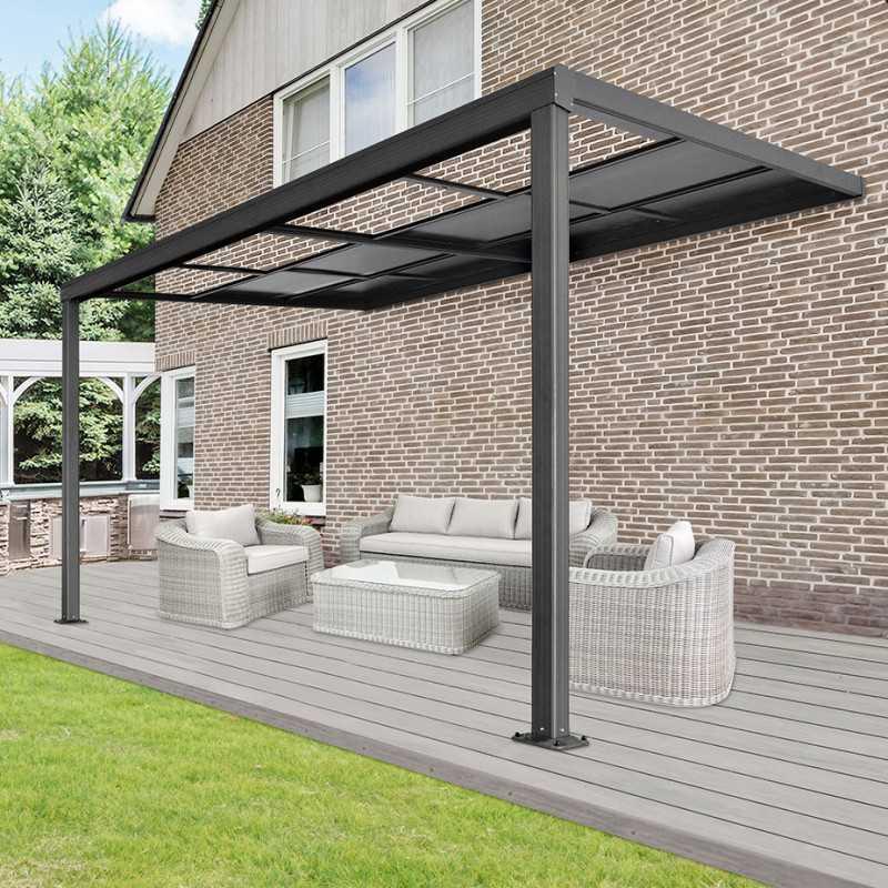 Terrassenüberdachung Deluxe 400x300x218/272cm (grau)