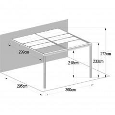 Terrassenüberdachung Deluxe 400x300x218/272cm (grau)-5