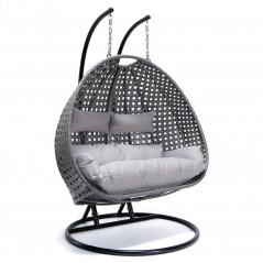 Polyrattan Hängesessel TWIN grau - komplett inkl. Regenabdeckung-3