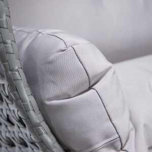 Polyrattan Hängesessel TWIN grau - komplett inkl. Regenabdeckung-13