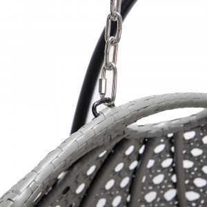 Polyrattan Hängesessel TWIN grau - komplett inkl. Regenabdeckung-15