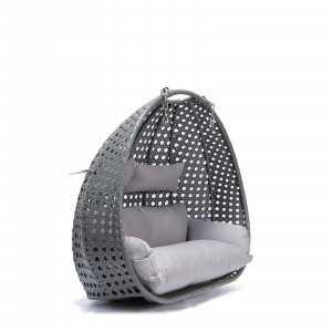 Polyrattan Hängesessel TWIN grau - Nur Korb + Kissen-3