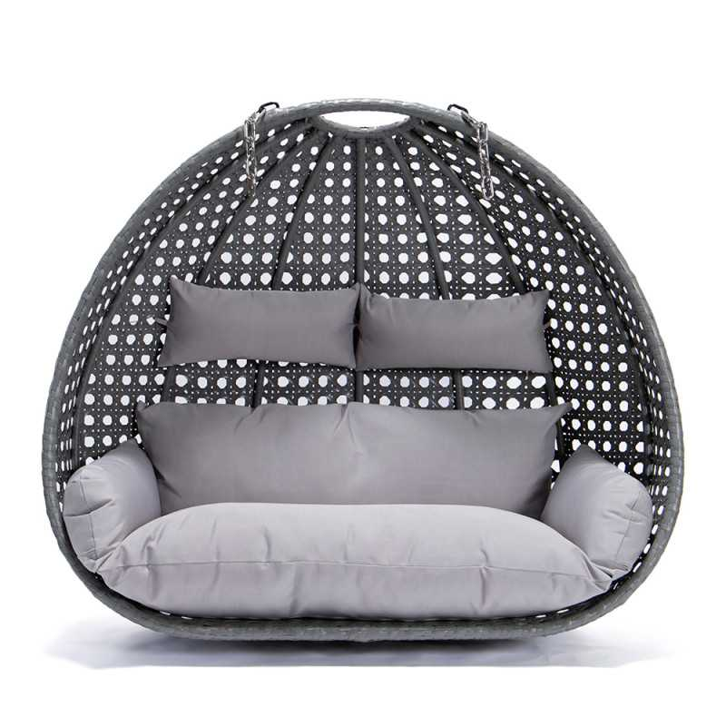 Polyrattan Hängesessel TWIN grau - Nur Korb + Kissen