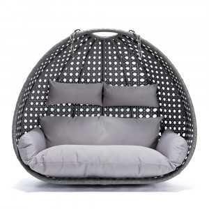 Polyrattan Hängesessel TWIN grau - Nur Korb + Kissen-1