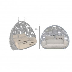 Polyrattan Hängesessel TWIN grau - Nur Korb + Kissen-7
