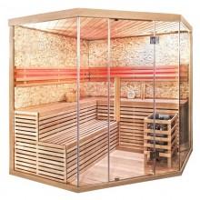 Traditionelle Sauna Skyline XL BIG Kunststeinwand-5