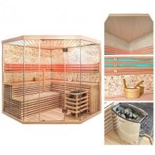 Traditionelle Sauna Skyline XL BIG Kunststeinwand-3