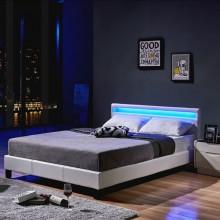 LED Bett Astro 140 x 200 Weiß