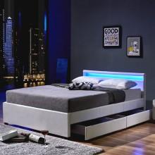 LED Bett Nube mit Schubladen 140 x 200 Weiss