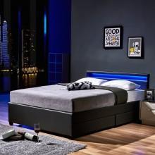 LED Bett Nube mit Schubladen 140 x 200 Dunkelgrau
