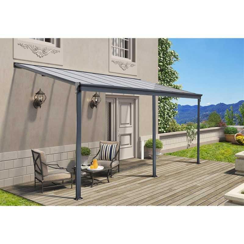 Terrassenüberdachung 618 x 303 x 226 / 278 cm (Grau)