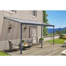 Terrassenüberdachung 557 x 303 x 226 / 278 cm (Grau)