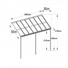 Terrassenüberdachung 495 x 303 x 226 / 278 cm (Weiss)-21