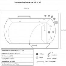 Seniorenbadewanne Vital M (liegend) mit Rechtseinstieg-21