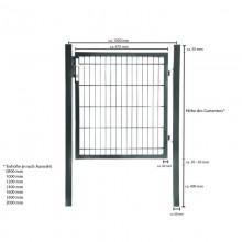 Doppelstabmatten Gartentor grün - 1000 mm-11