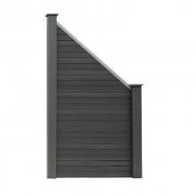 WPC Sichtschutzzaun Sichtschutz grau - 1x Schrägelement + 1x Pf. groß