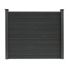 WPC Sichtschutzzaun Sichtschutz V2 grau 170 x 180 cm - 5x Element + 6x Pfosten