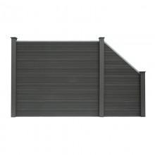 WPC Sichtschutzzaun Sichtschutz V2 grau 170 x 180 cm - 2x Element + 3x Pfosten + 1x Schrägelement